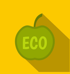 Eco green apple icon flat style vector