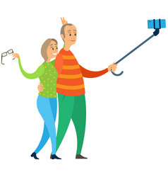 elderly people making selfie together old vector image