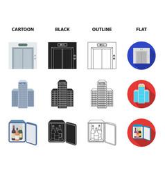 elevator car mini bar staff buildinghotel set vector image
