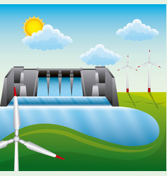 Energy clean - dam hydroelectric wind turbin vector