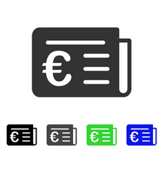 Euro banking news flat icon vector