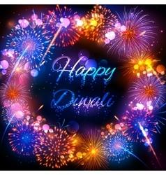 Firecracker on happy diwali holiday background vector