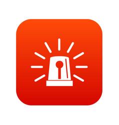Flashing emergency light icon digital red vector