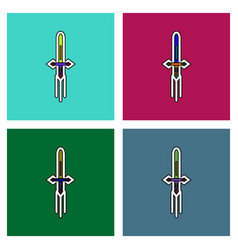 Flat icon design collection ancient weapon sword vector