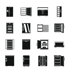 Freezer fridge frozen ice icons set simple style vector
