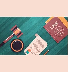 gavel and judge book on wooden table legal law vector image