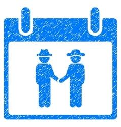 Gemtlemen handshake calendar day grainy texture vector