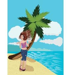 Girl on a Sunny Beach vector image