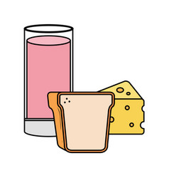 glass cup yogurt with bread and cheese vector image