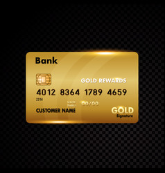 Gold credit card isolated on black vector