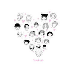 Graphic heart with faces avatars of people vector