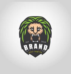 green lion logo vector image