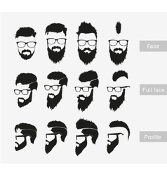 Hairstyles with a beard in the face full face and vector