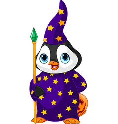 Halloween penguin wizard vector