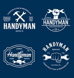 Handyman labels badges emblems and design elements vector