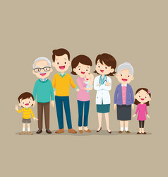 Happy doctor and big family set vector