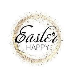 happy easter greeting card with glitter dots vector image