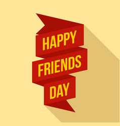 happy friends day ribbon logo flat style vector image