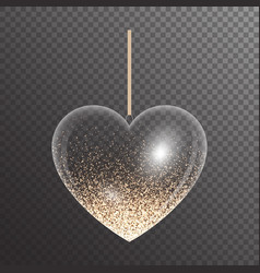 Heart with golden sparkles vector
