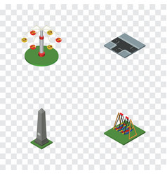 isometric city set of swing attraction crossroad vector image