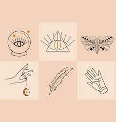 Magic hand drawn doodle sketch line style set vector