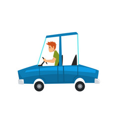 Man driving blue car side view vector