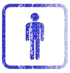 Man framed textured icon vector