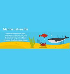marine nature life banner horizontal concept vector image