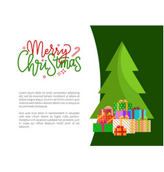 merry christmas wishes on holiday invitation tree vector image