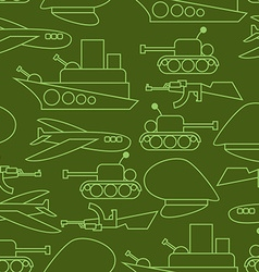 Military seamless pattern Ship and tank Auto and vector image
