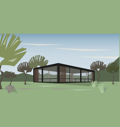 Modern house in nature vector