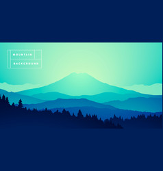 Mountain peak misty pine forest gradient vector