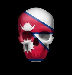 Nepalese flag skull vector