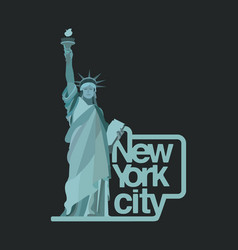 new york city logo design with statue of liberty vector image
