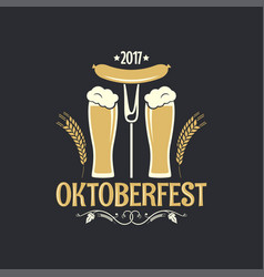Oktoberfest beer glass logo background vector