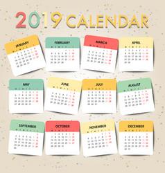 Pastel color calendar for 2019 template design vector