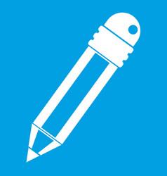 Pencil with eraser icon white vector