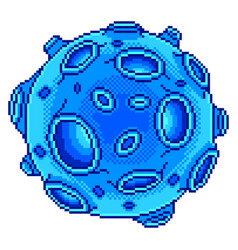 pixel blue planet with craters isolated vector image