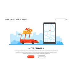 pizza delivery landing page template traditional vector image