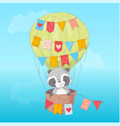 poster cute raccoon flying in a balloon cartoon vector image