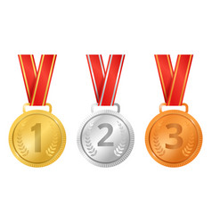 realistic detailed 3d champion different medals vector image
