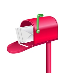 Red mailbox with letters vector