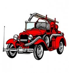 Retro firetruck vector