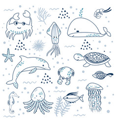 sea life underwater world fish jellyfish sea vector image
