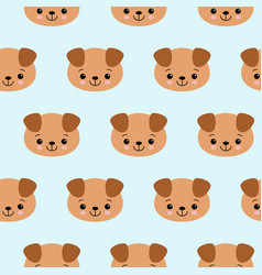 seamless pattern with cute dogs animal vector image