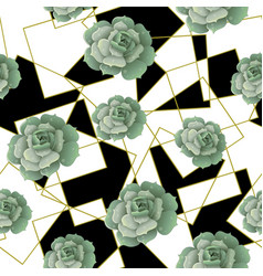 seamless pattern with succulents and golden frames vector image