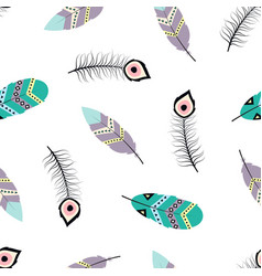 seamless pattern with tribal feathers vector image