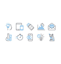 Set education icons such as idea usb flash vector