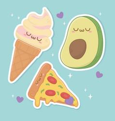 set food kawaii characters vector image