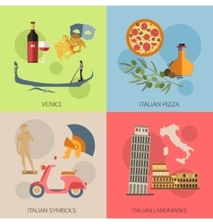 set italy travel compositions with place vector image